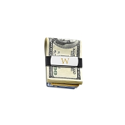 Grand Band Stainless Steel &14KT Yellow gold Initial Rubber Money Clip