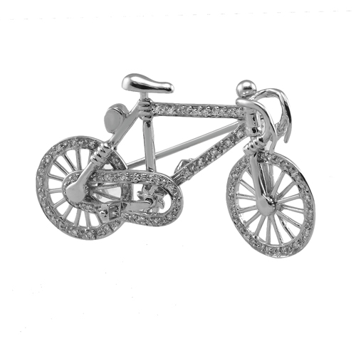14kt white gold diamond bike pin and pendant aloadofball Gallery