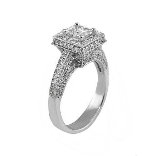 14kt white gold engagement ring center 71ct