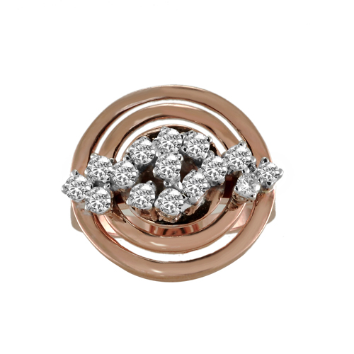 14K White & Rose Gold Diamond Ring 0 86 Ctw