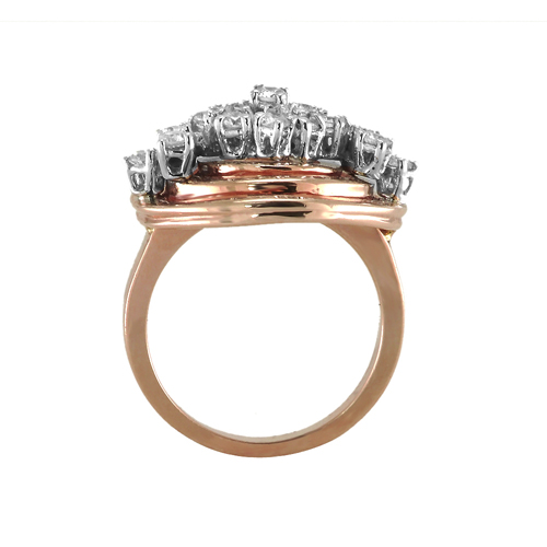 14K White & Rose Gold Diamond Ring 0 86 Ctw