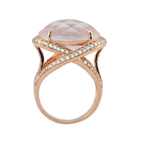 14K Pink Gold Diamond & Quartz Ring 0 77Ctw