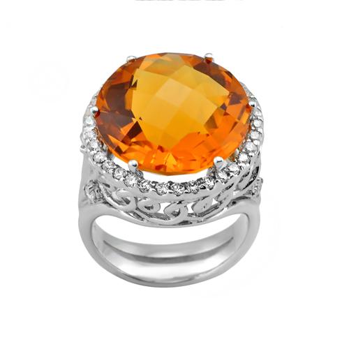14k white gold citrine ring 0 57ctw