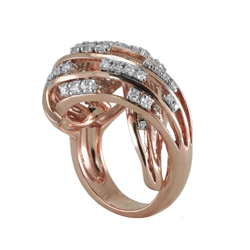 14K Rose Gold Diamond Ring 1 20 Ctw
