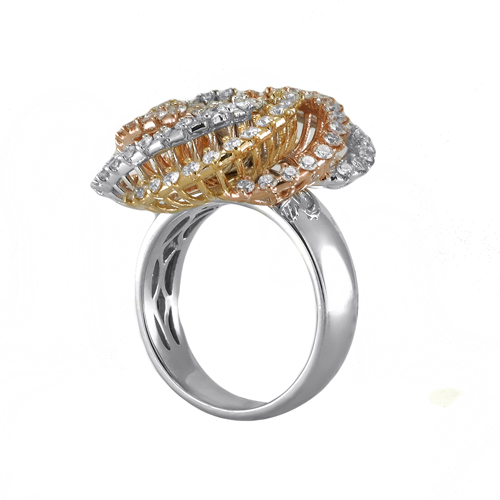 14K Tri Color Gold Diamond Ring 1 75Ctw