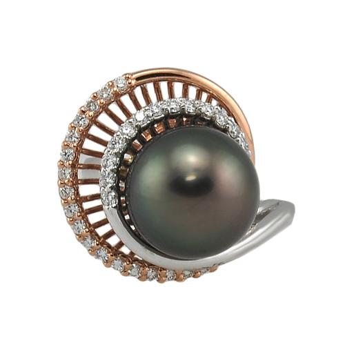 14K Rose & White Gold Diamond & Black Pearl Ring