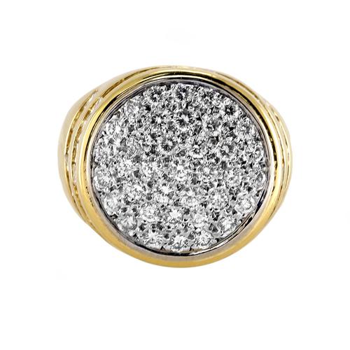 18K Yellow gold Mens Diamond ring Center circle has 150ct pave