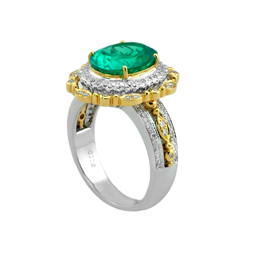 18 Karat Two Tone Emerald and Diamond Ring