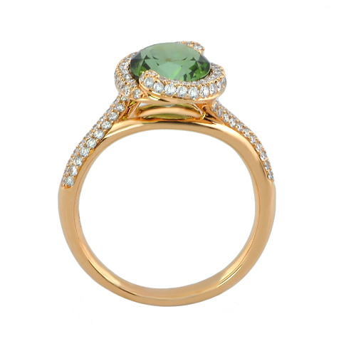 18 karat pink gold green tourmaline and ring