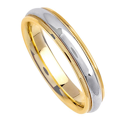 Platinum And 18K Yellow Gold Two Tone Wedding Bands PLTDJ1115
