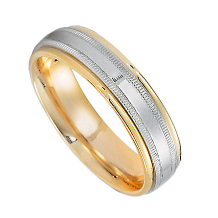 Platinum And 18K Yellow Gold Two Tone Wedding Bands PLTDJ1135