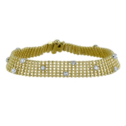 14K Yellow And White Gold Two Tone Ladies' Bracelet.  0.65 Ctw.