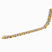 18K Yellow And White Gold Diamond Bracelet.