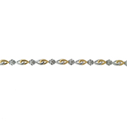 14K Two Tone Diamond Flower Bracelet 0.10Ctw