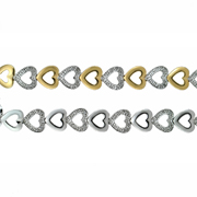 Your Choice Of 14k White Or Yellow Gold Diamond Heart  Bracelet 0.15Ctw