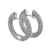 14Kt White Gold Diamond Pave Set  Hoops.