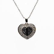 14KT White Gold Diamond And Black Diamond Heart Pendant.
