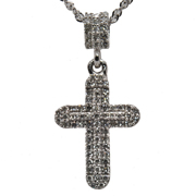 14K White Gold Diamond Cross.
