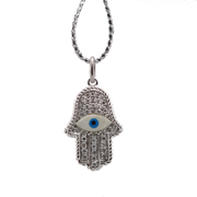 18K White Gold Diamond Hamsa Pendant.