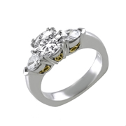 Platinum & 18K Yellow Gold Diamond Engagement Ring