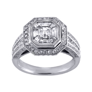 18K White Gold Diamond Engagement Ring 1.83 Ctw