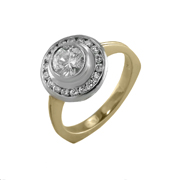 14K White & Yellow Gold Diamond Engagement Ring