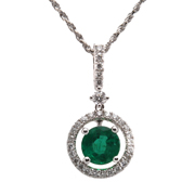 18 Karat White Gold Emerald and Diamond Pendant.