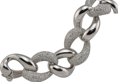 14K White Gold Diamond Bracelet .