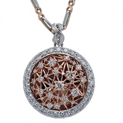14K Two Tone Diamond Pendant.
