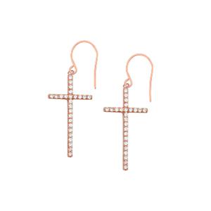 Dangle Earring, Dangle Cz Cross Earrings With Euro Wire