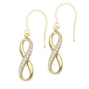 Dangle Earring, Dangle 1/2 Cz Infinity Earrings With Eur