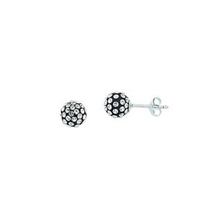 Ball Earring,Ss 8Mm Ball Earrings / Black Resin