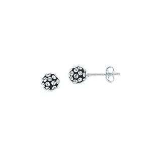 Ball Earring,Ss 6Mm Ball Earrings / Black Resin