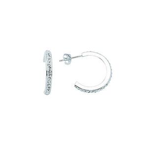 Hoop Earrings, Ss 20X3 Half Hoop Earrings / 1 Row Of Cr