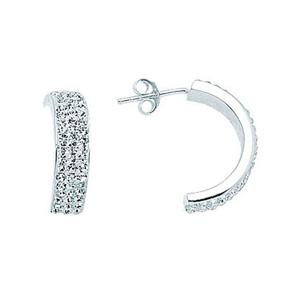 Hoop Earrings, Ss 20X3 Half Hoop Earrings / 3 Rows Of C