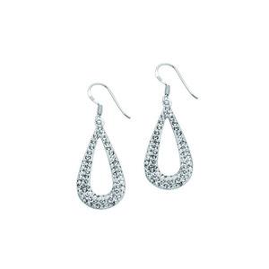 Hoop Earrings, Ss Fancy Tear Drop Earrings / White Resi
