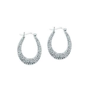 Hoop Earrings, Ss Crystal Creole Oval Hoop Earrings / W