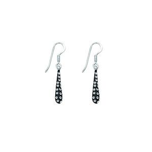 Hoop Earrings, Ss Crystal Tear Drop Earrings / Black Re