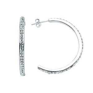 Hoop Earrings, Ss 34X3 Mm Half Hoop Earrings / 1 Row Of