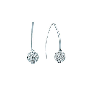 Hoop Earrings, Ss Crystal Ball Er
