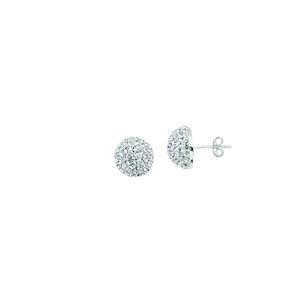 Ball Earring,Ss 10Mm Half Ball Earrings / White Resin
