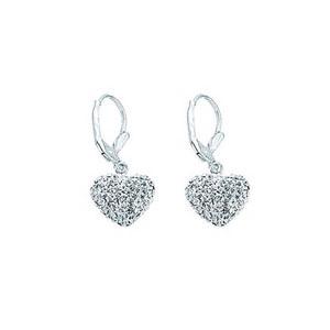 Dangle Earring, Ss Crystal Heart Earrings / White Resin