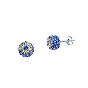 Ball Earring, Ss Crystal Evil Eye Ball Earrings