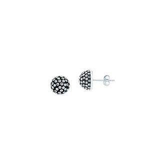 Ball Earring,Ss 8Mm Half Ball Earrings / Black Resin