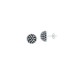 Ball Earring,Ss 10Mm Half Ball Earrings / Black Resin