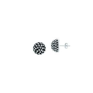 Ball Earring,Ss 12Mm Half Ball Earrings / Black Resin