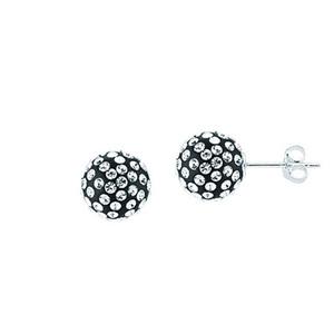 Ball Earring,Ss 12Mm Ball Earrings / Black Resin