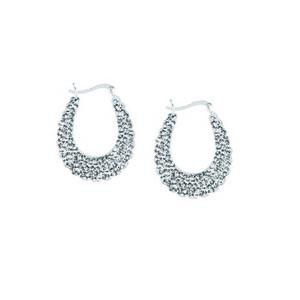 Hoop Earrings, Ss Crystal Creole Shimp Hoop Earrings