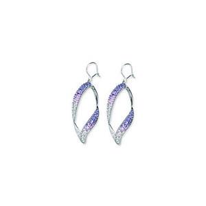 Hoop Earrings, Open Swirl Crystal Ear/Tanzanite/Clear