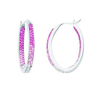 Hoop Earrings, Inside Outside Oval Hoop/Rose
